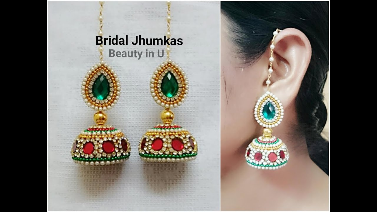 86c18a9f5 How to make Designer Bridal Silk Thread Earrings/Jhumkas at Home| Tutorial  - YouTube
