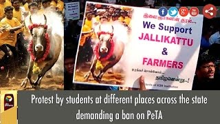 Protest by students at different places across the state demanding a ban on PeTA