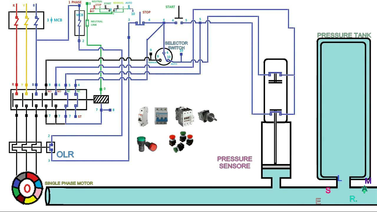 3 Phase Soft Start Wiring Diagram Automatic Pressure Control Starter Three Phase Motor Youtube