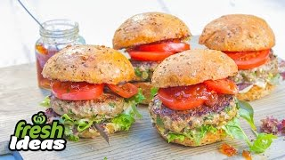 Bbq Lamb Burger Recipe With Red Onion Relish & Salad - Woolworths Fresh Ideas