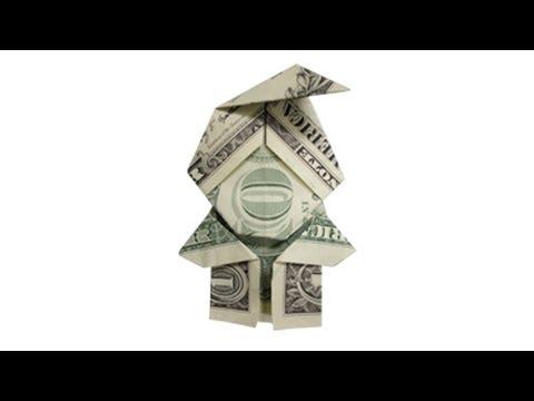 How To Fold A Money Origami Elf / Santa Claus