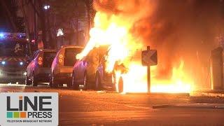Soirée de violence et d'émeutes 1er tour présidentielle / Paris - France 23 avril 2017