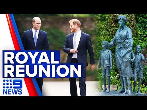 Prince William and Harry unveil statue of Princess Diana | 9 News Australia