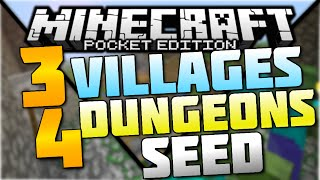 3 VILLAGES + 4 DUNGEONS! (BEST MCPE SEED EVER?!) - Minecraft PE (Pocket Edition) 1.1 SEED REVIEW #3