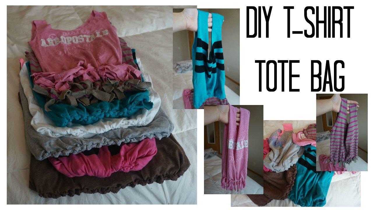 DIY No Sew T-Shirt Tote Bag - YouTube