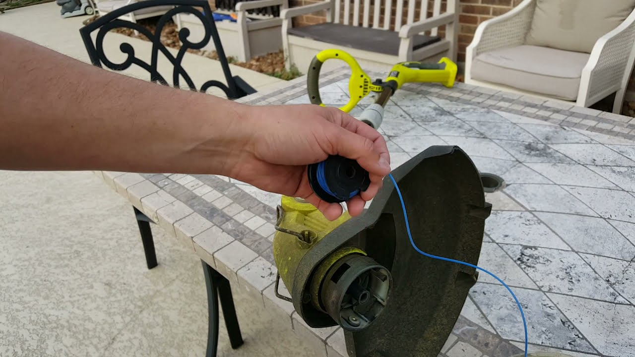 How to change the trimmer line on a Ryobi 18 volt cordless string trimmer