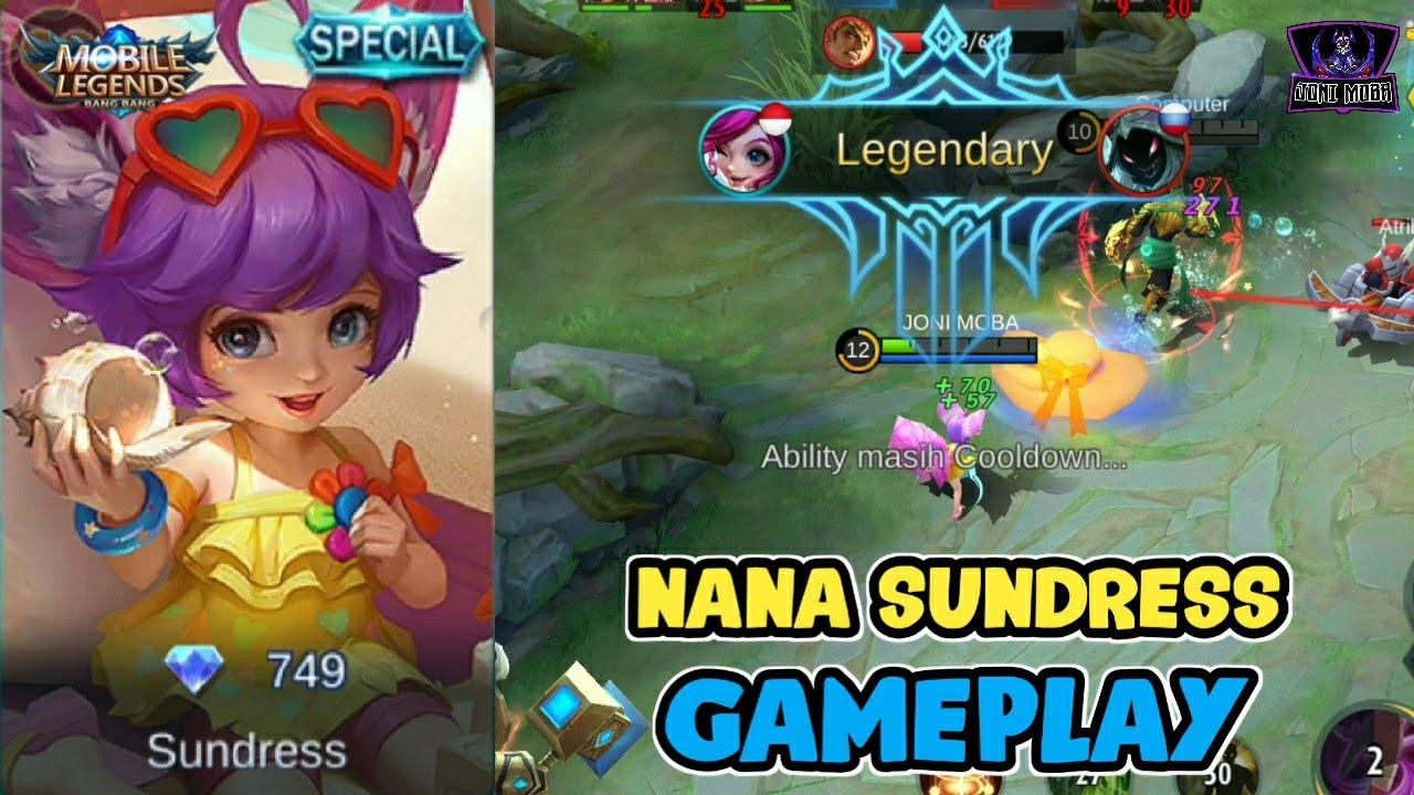 NEW SKIN NANA SUNDRESS - REVIEW GAMEPLAY MOBILE LEGENDS