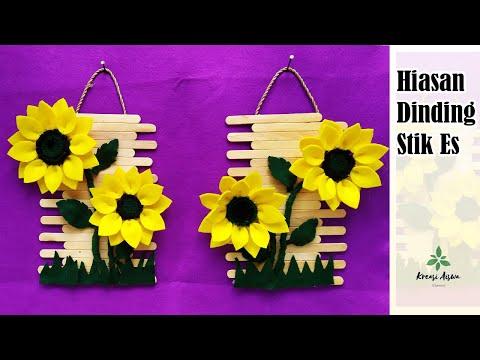 Hiasan Dinding Dari Stik Es Krim Bunga Matahari Dari Kain Flanel