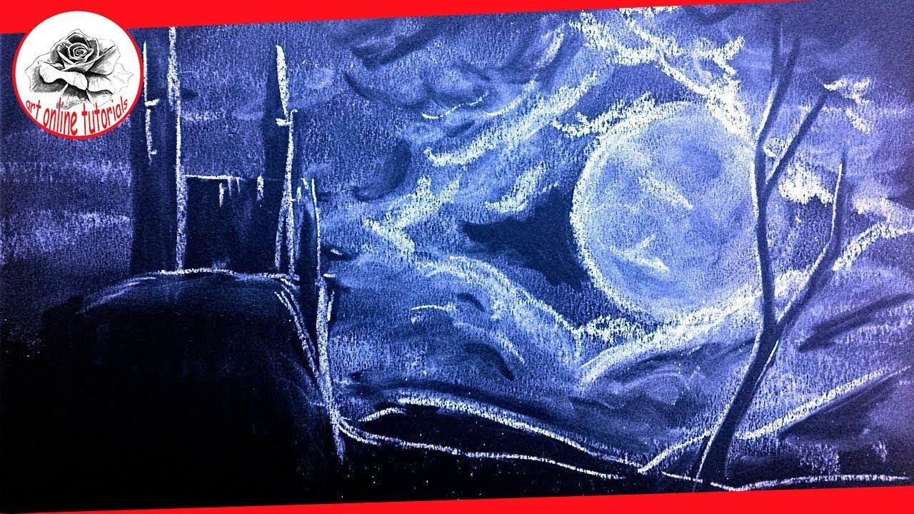 drawing a dark night whith white chalk over dark blue