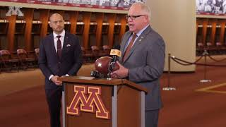 Coach Fleck Presents Governor Walz and Minnesota with Game Ball