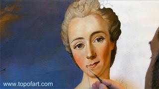 Art Reproduction (Nattier - Portrait of a Lady) Hand-Painted Step by Step