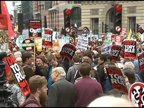 Raw: Anti-Austerity Protest in London