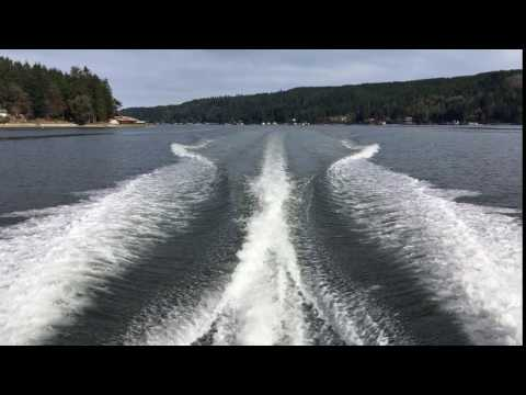 Fast boat wake on Hood Canal, near Seattle