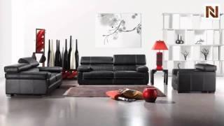 Bella Italia Leather 381 Sofa Set In Black Category 3 VGBI381