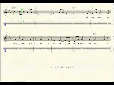 Ye Raate Ye Mausam Sheet Music Notations Youtube