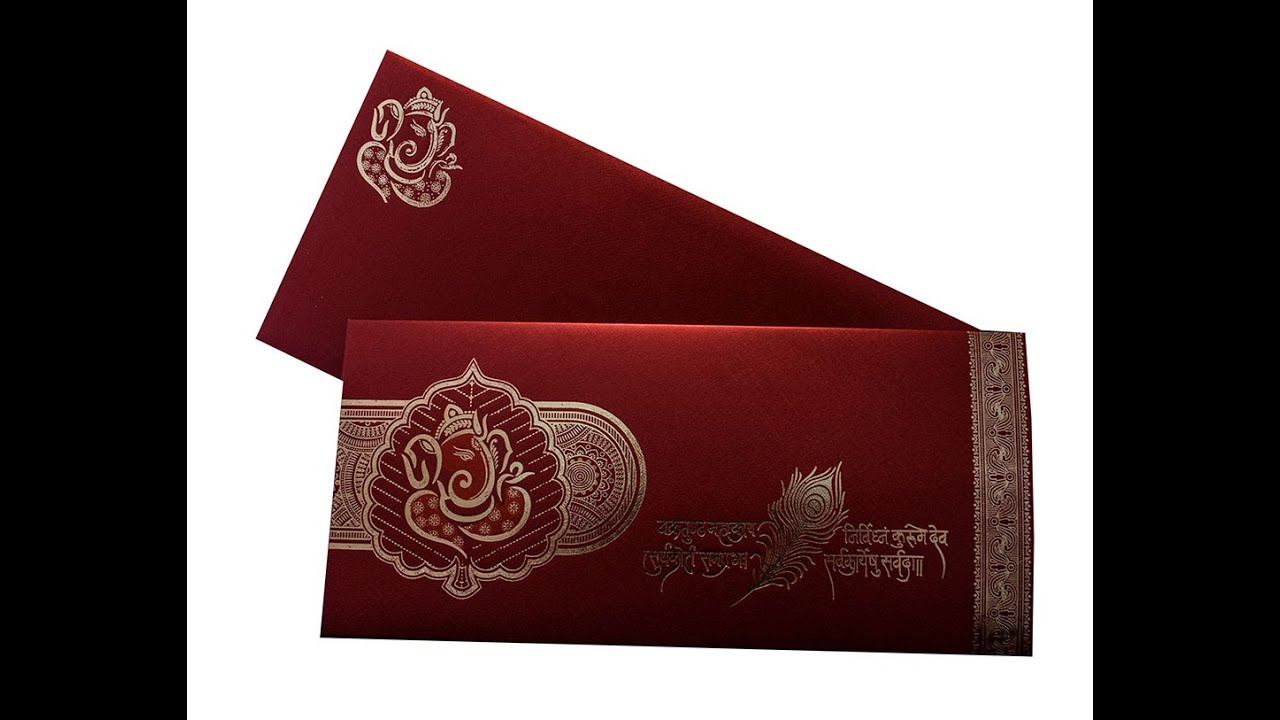 Ganesha Theme Hindu Wedding Card in Maroon Color - AMB1542 - YouTube
