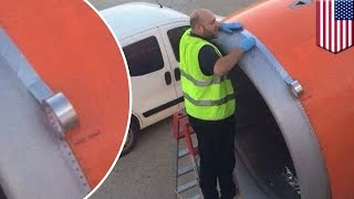 Airplane scare: easyJet tapes up engine moments before takeoff in viral photo - TomoNews