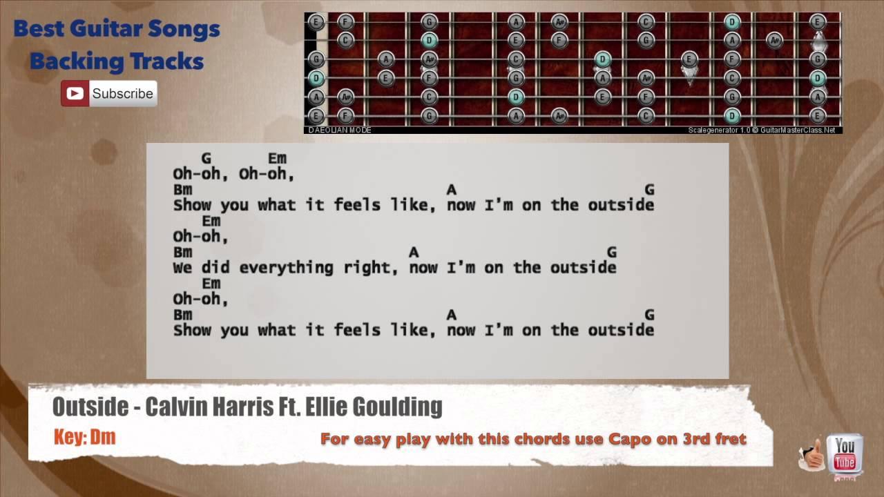 Outside Calvin Harris Ft Ellie Goulding Guitar Backing Track With