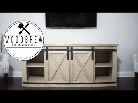 DIY Barn Door Entertainment Center | Woodworking Plans