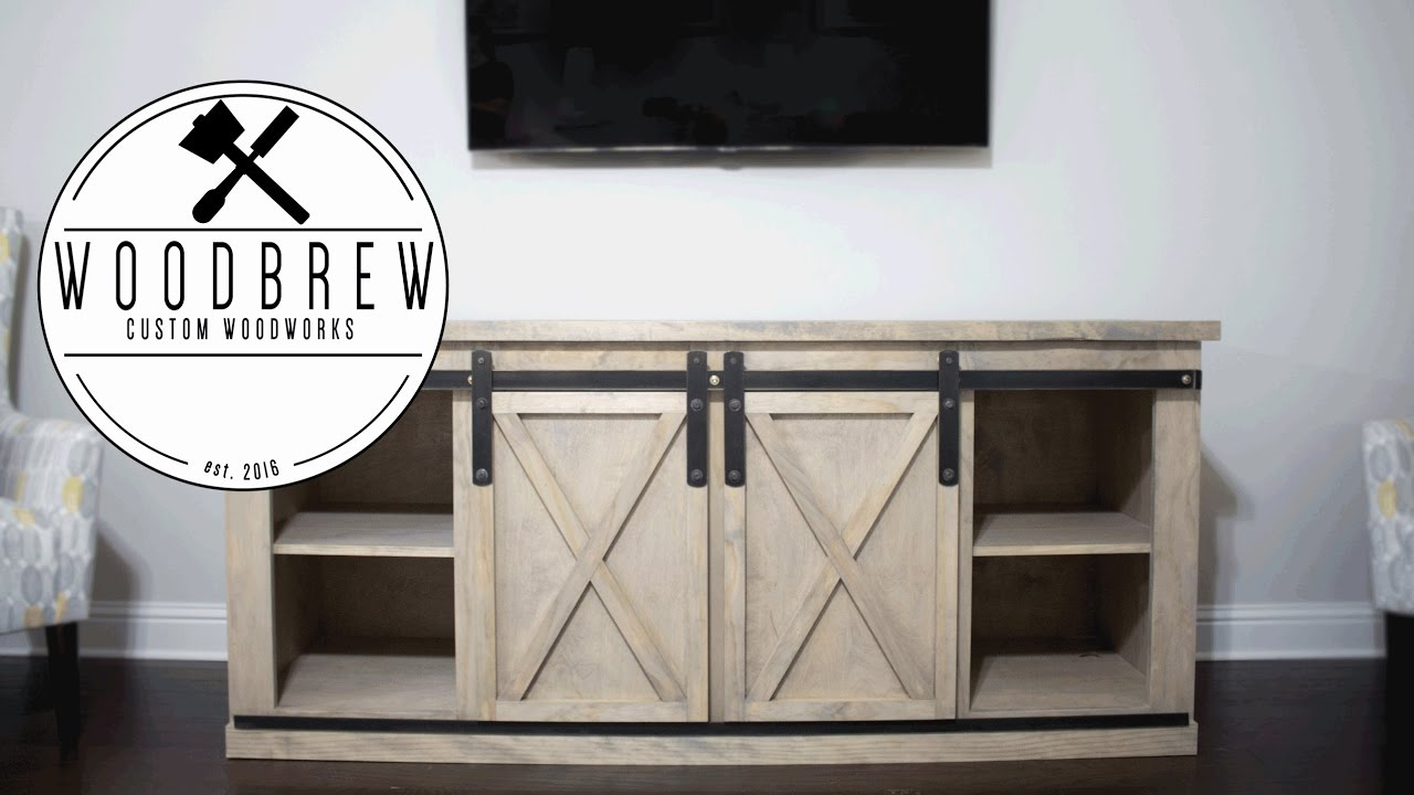 Diy Barn Door Entertainment Center Woodworking Plans Youtube