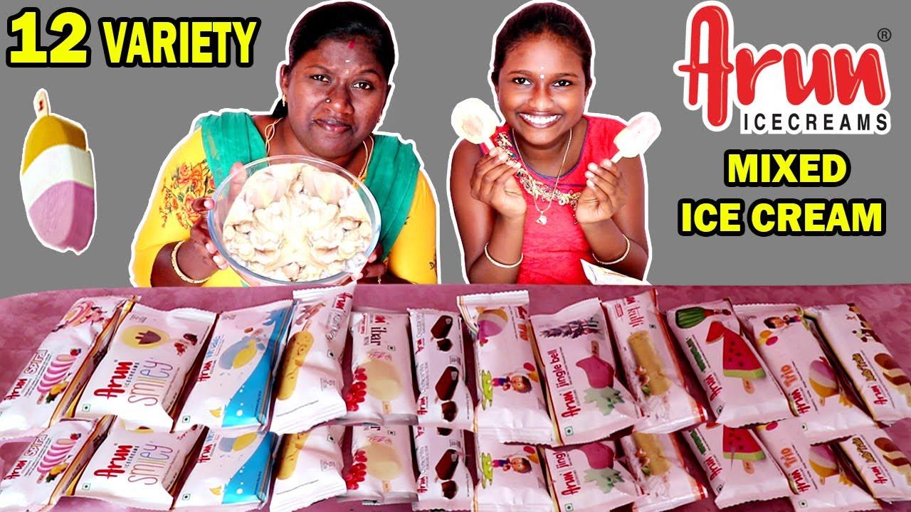 ARUN ICE CREAM vs MIXID ARUN ICE CREAM FUN GAME& EATING CHALLENGE IN TAMIL FOODIES DIVYA vs ANUSHYA