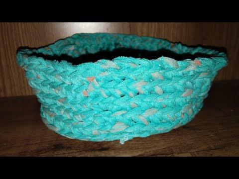 Crochet basket making tips from t shirt yarn