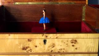 Vintage Reuge Dancing Ballerina Music Jewelry Box