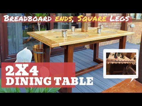 DIY Dining Table out of just 2x4's ! (Breadboard Ends, Square Legs, 2-Tone colour, Strong & Easy)