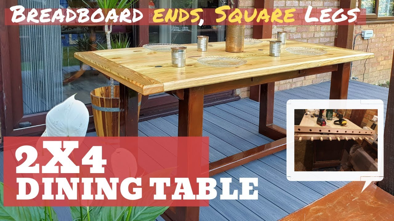 make an awesome dining table with just 2x4 s farmhouse style breadboard ends square legs