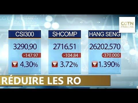 La bourse chinoise plonge malgré les réductions du radio de réserves obligatoires