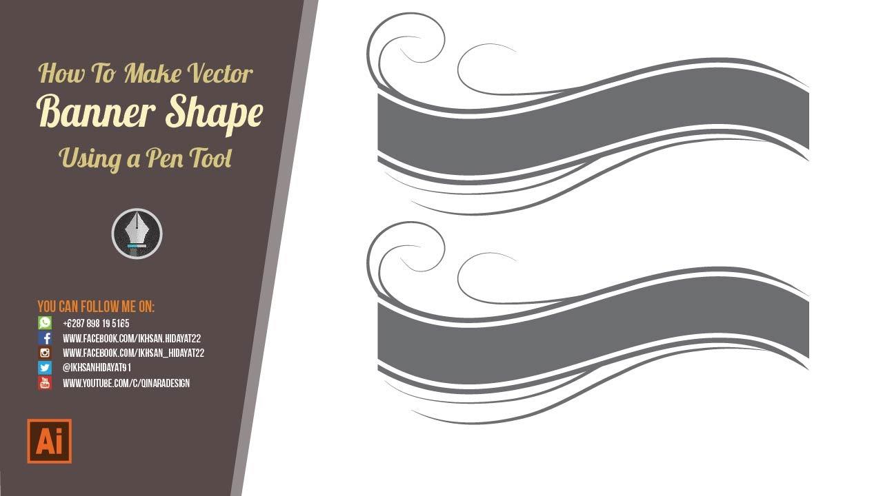 ribbon banner shape illustrator tutorial youtube