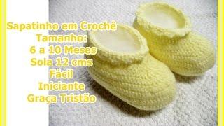 Como fazer Sapatinho em Crochê Tamanho 6 a 10 meses – Iniciante – Graça Tristão