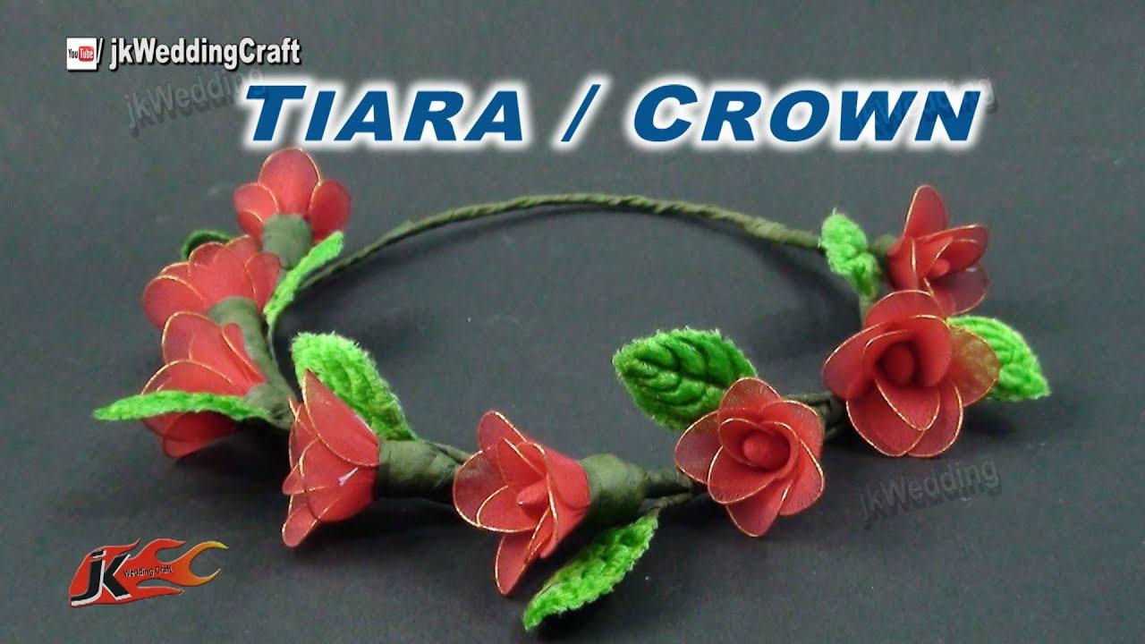 Diy How To Make A Stocking Flower Crown Tiara Jk Wedding Craft