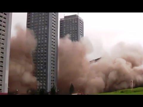 Как сносят многоэтажные здания. Видео подборка взрывов зданий и домов.
