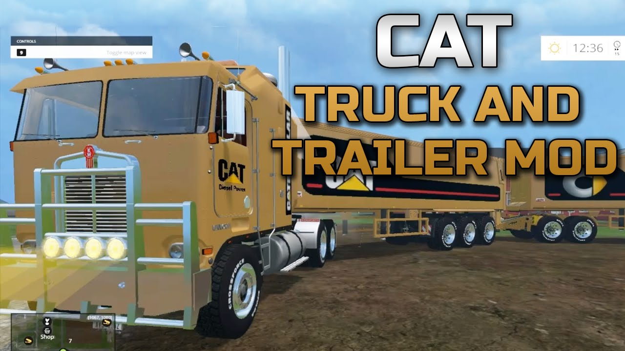 Farming Simulator 2015- Caterpillar Truck + Trailer Mod!