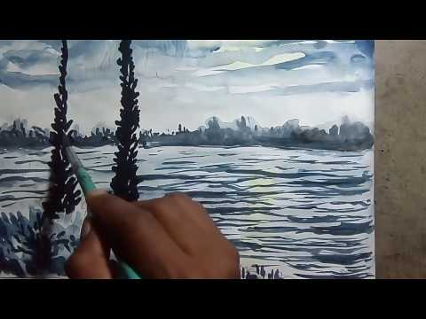 How to paint watercolor painting | moon light on river | beginners of watercolor