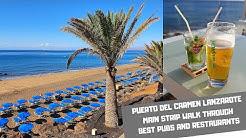 PUERTO DEL CARMEN LANZAROTE - Walking tour seafront promenade bars and restaurants