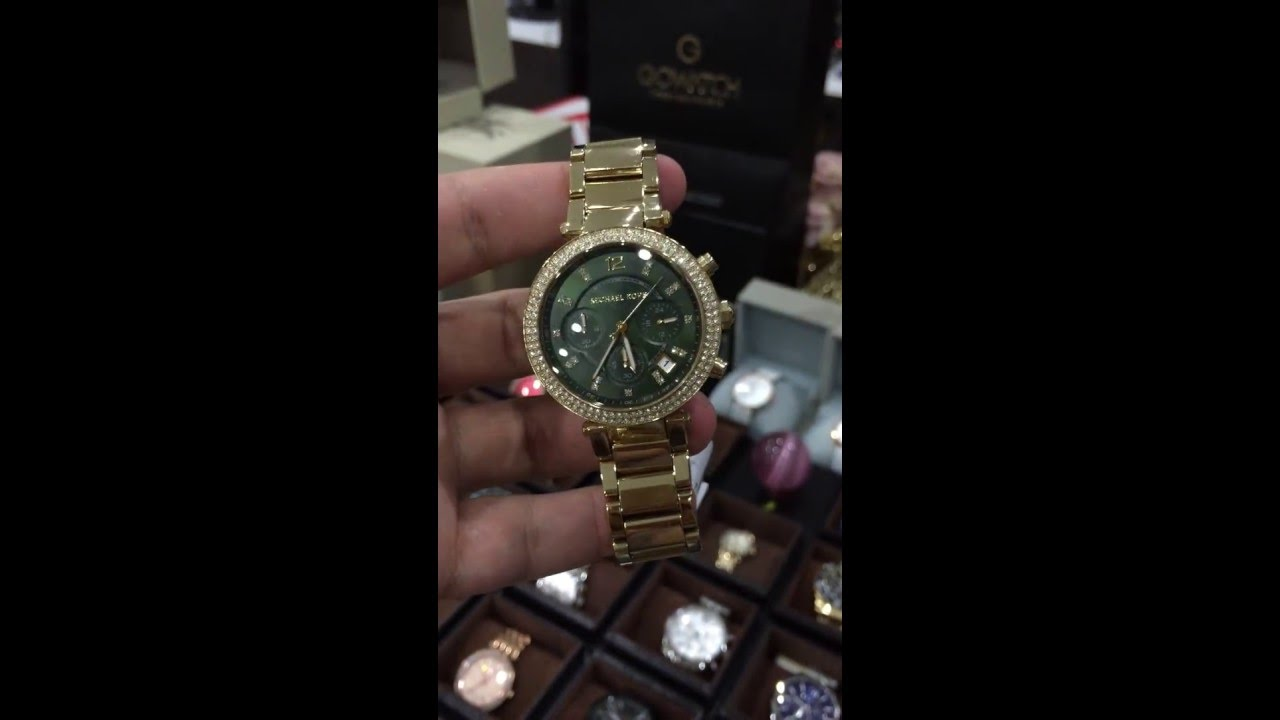 48f14ee99195 MICHAEL KORS (MK6263) PARKER GOLD CHRONOGRAPH GREEN DIAL WATCH - YouTube