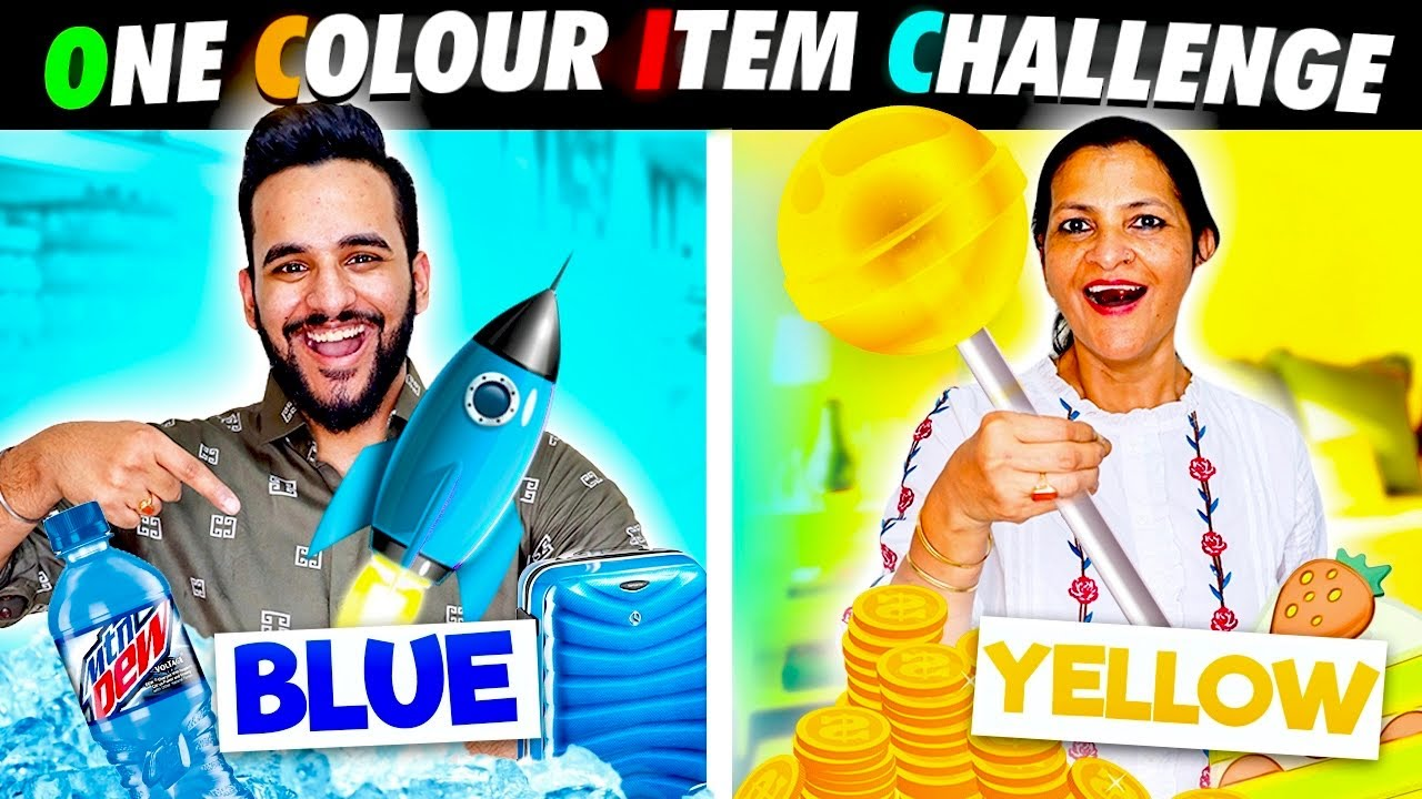 BUYING & EATING everything in ONE COLOR Challenge !! 💛💙