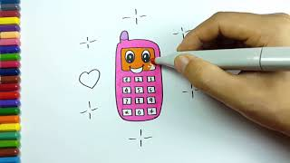 Draw things for kids by coloring with numbers, mobile phone