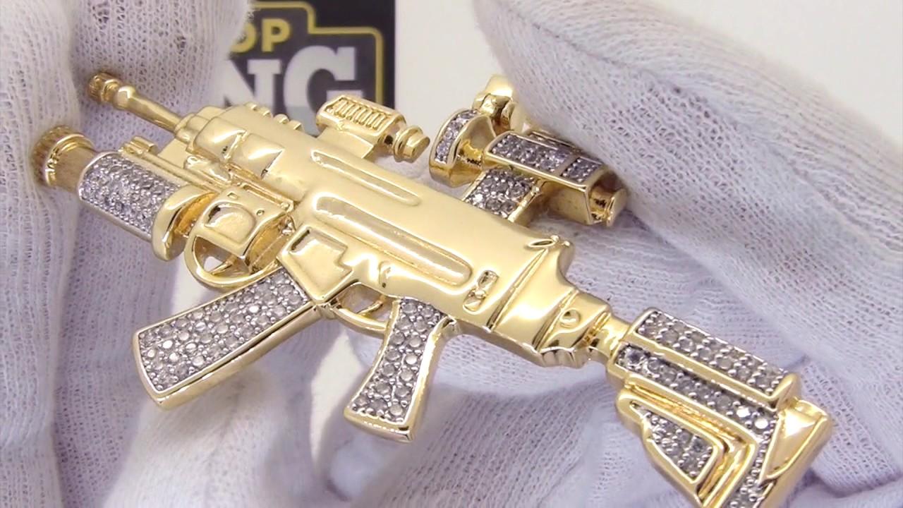 Gold machine gun pendant cz hip hop jewelry youtube gold machine gun pendant cz hip hop jewelry aloadofball Image collections