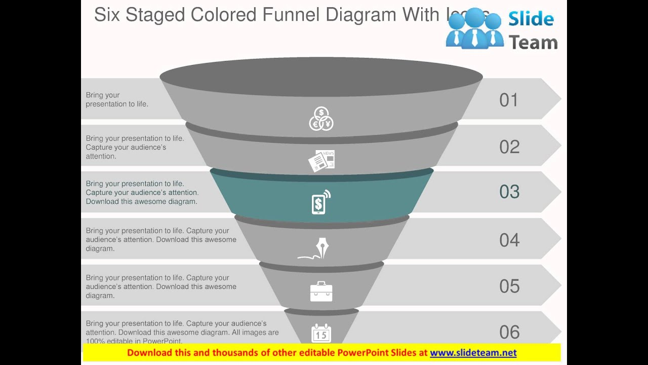 Six staged colored funnel diagram with icons flat powerpoint design six staged colored funnel diagram with icons flat powerpoint design ccuart Image collections