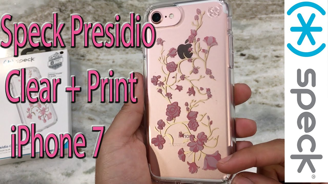 official photos 86af5 83248 iPhone 7 Speck Clear + Print Presidio Case Golden Blossom Pink
