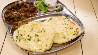 Kulche Recipe - Road Side Chole Kulcha (Bread) - Made in Tawa - CookingShooking