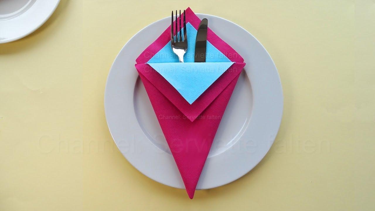 Servietten falten: Bestecktasche - Einfache Anleitung zum Servietten falten: Hochzeit