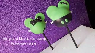 Mickey and Minnie cake pops. (Halloween edition)