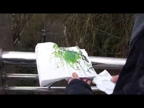 Henry Painting Spring Willows in Nanjing in Sumi Ink and Watercolor 1/2