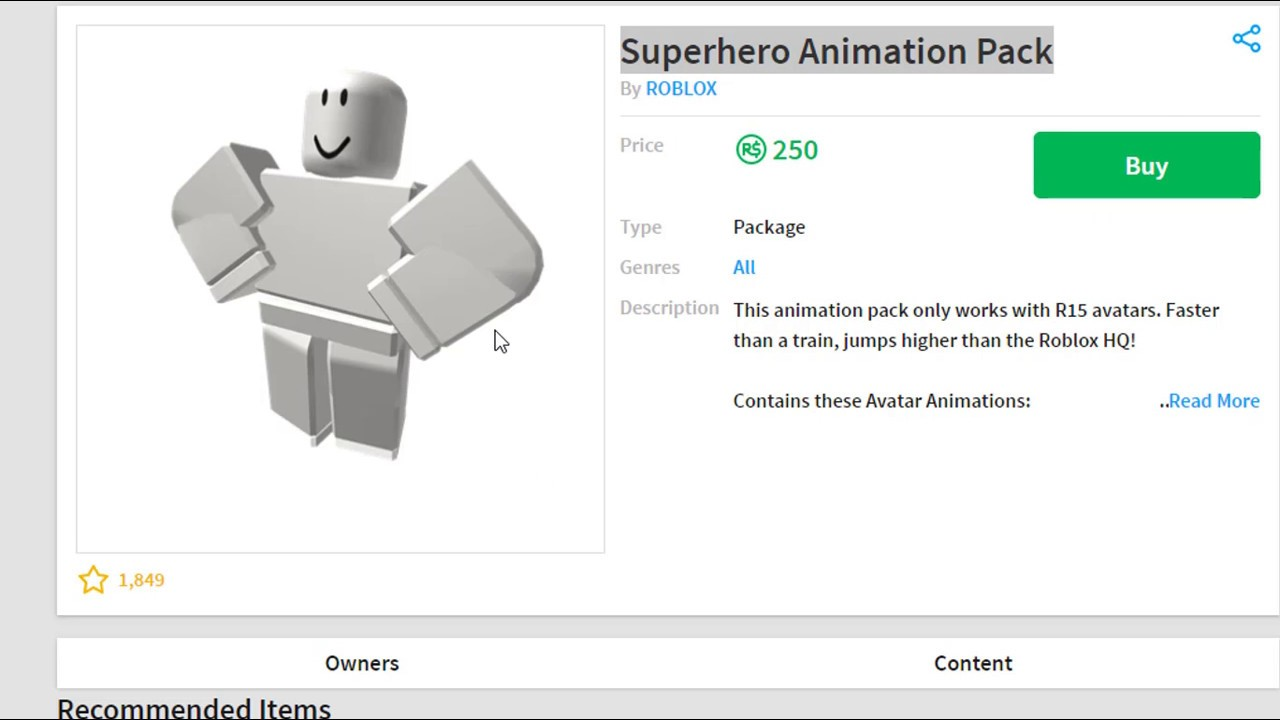 Buying The New Superhero Animation Pack Roblox Youtube