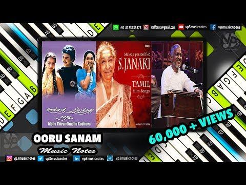Ooru Sanam, ilayaraja, Mella Thiranthathu Kathavu, Piano Notes, Midi, Karaoke,
