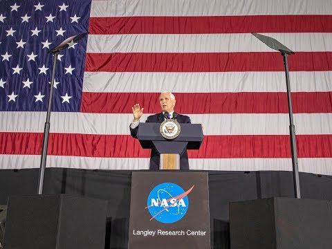Vice President Mike Pence addresses employees at NASAs Langley Research Center